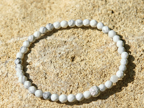 Armband, Bracelet: Magnesit 4mm fac Silber 925