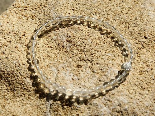 Armband, Bracelet: Bergkristall 4mm Silber 925