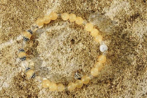 Armband, Bracelet: Bergkristall Aragonit Silber 925
