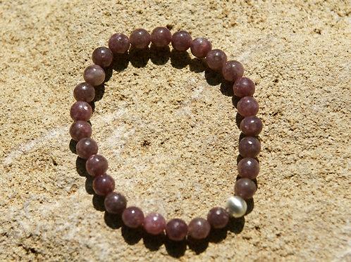 Armband, Bracelet: Lepidolith Silber 925