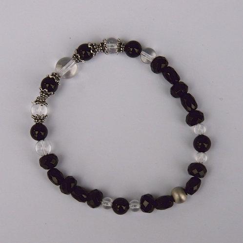 Armband, Bracelet: Bergkristall Schörl Silber 925