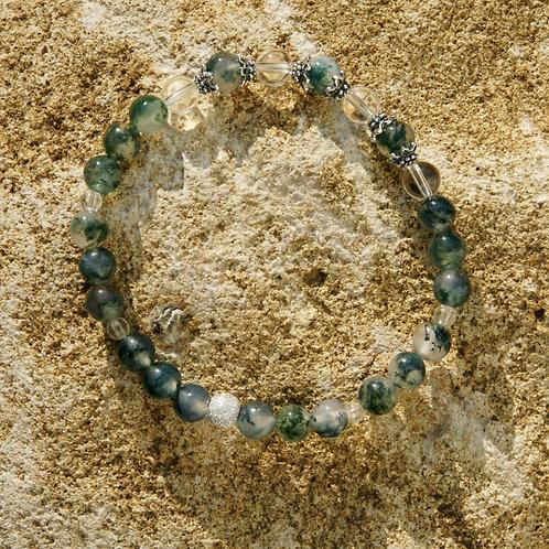 Armband, Bracelet: Bergkristall Moosachat Silber 925