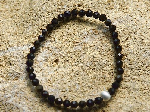Armband, Bracelet: Goldobsidian 4.5mm facetiert Silber 925