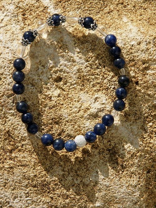 Armband, Bracelet: Bergkristall Sodalith Silber 925