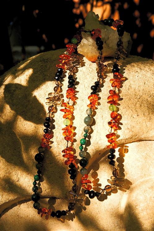 Sautoir 90 cm Rauchquarz Bergkristall Bernstein Chrysopras Moosachat Malachit
