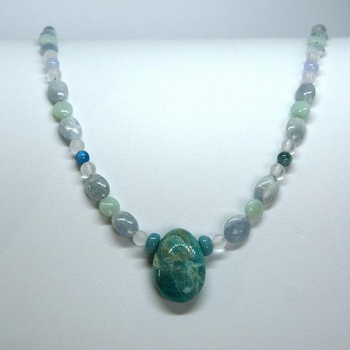 Kette: Amazonit, Apatit, Blauquarz, Chalzedon, Bergkristall
