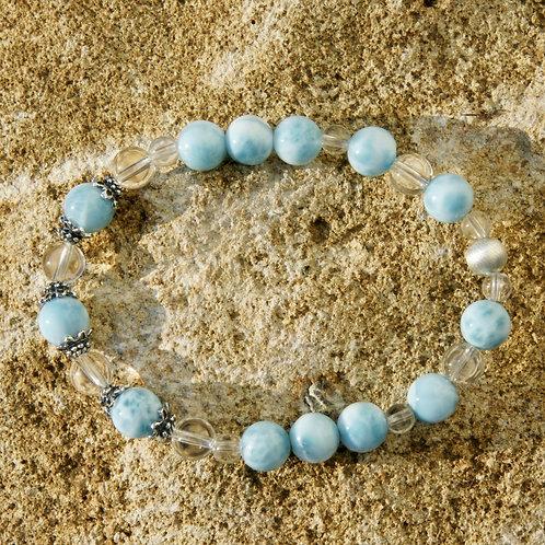 Armband, Bracelet: Bernstein Larimar Silber 925
