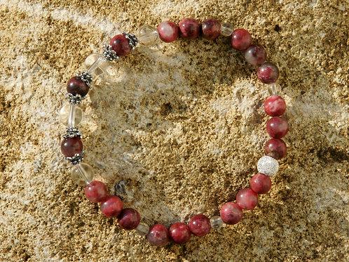 Armband, Bracelet: Bergkristall Thulith Silber 925