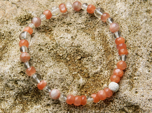 Armband, Bracelet: Bergkristall Sonnenstein Silber 925