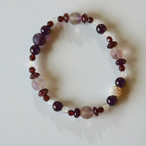 Armband, Bracelet: Fluorit, Granat, Turmalin Bergkristall Silber 925