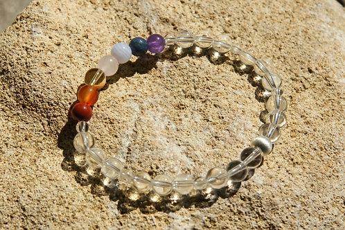 Armband, Bracelet: Bergkristall Amethyst Dumortierit Chalzedon  RosenqSilber 925