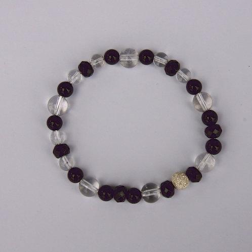 Armband, Bracelet: Bergkristall, Turmalin Schörl Silber 925