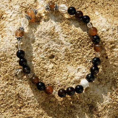 Armband, Bracelet: Bergkristall Achat Silber 925
