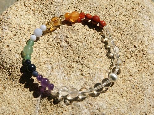 Armband, Bracelet: Bergkristall Amethyst Dumortierit Aventurin Chalze Silber 925
