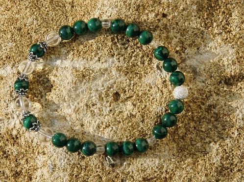 Armband, Bracelet: Bergkristall Malachit Silber 925