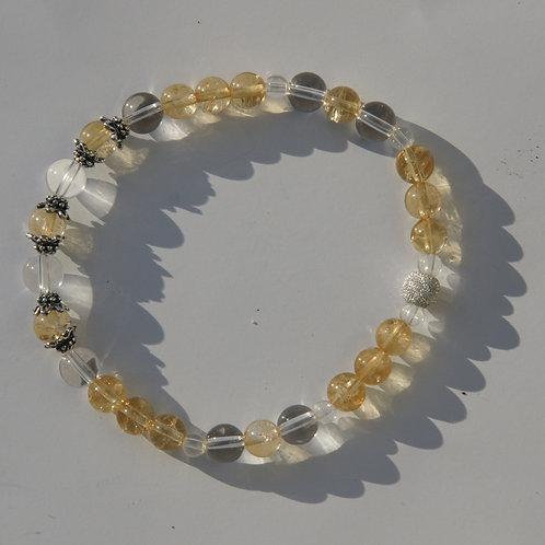 Armband, Bracelet: Bergkristall Citrin Silber 925