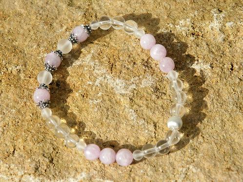 Armband, Bracelet: Bergkristall Kunzit Silber 925