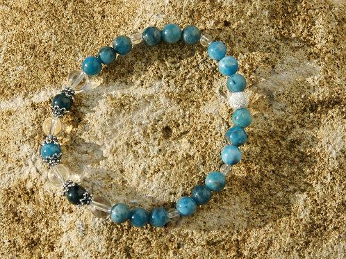 Armband, Bracelet: Bergkristall Apatit Silber 925