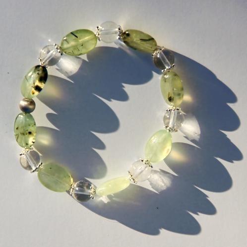 Armband, Bracelet: Prehnit  Bergkristall Silber 925 EE7