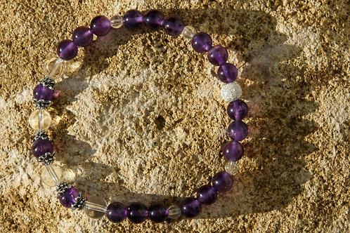 Armband, Bracelet: Bergkristall Amethyst Silber 925