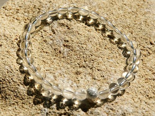 Armband, Bracelet: Bergkristall 6mm Silber 925