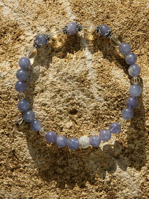 Armband, Bracelet: Bergkristall Tansanit Silber 925