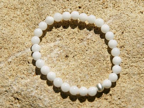 Armband, Bracelet: Serpentin weis Silber 925