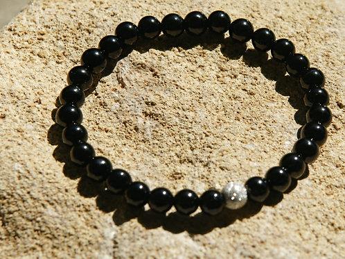 Armband, Bracelet: Schörl  6mm Silber 925