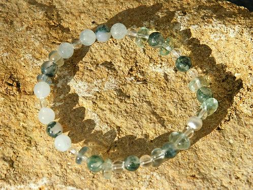 Armband, Bracelet: Aventurin Moosachat Fluorit Bergkristall Silber 925