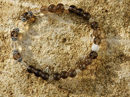 Armband, Bracelet: Bergkristall Rauchquarz Silber 925
