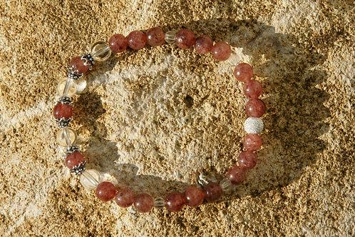 Armband, Bracelet: Bergkristall Muskovit Silber 925