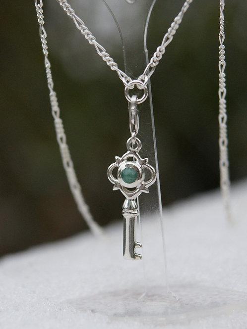 Anhänger: Schlüssel Silber 925 mit Aventurin