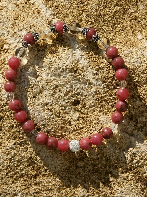 Armband, Bracelet: Bergkristall Rhodonit Silber 925
