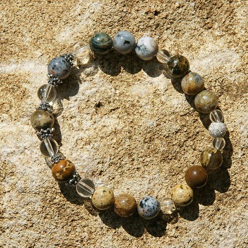 Armband, Bracelet: Bergkristall Ozean Chalzedon Silber 925