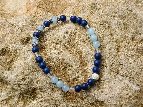 Armband, Bracelet: Aquamarin Lapislazuli Silber 925