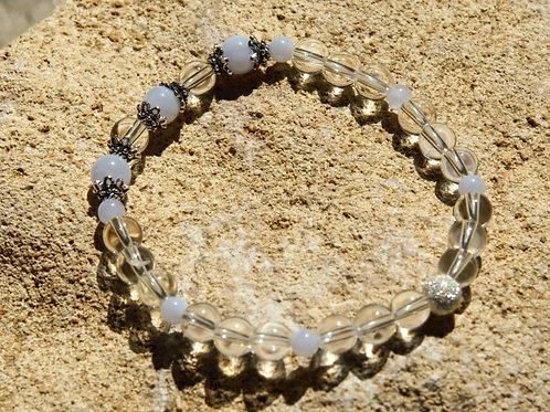 Armband, Bracelet: Bergkristall Chalzedon Silber 925