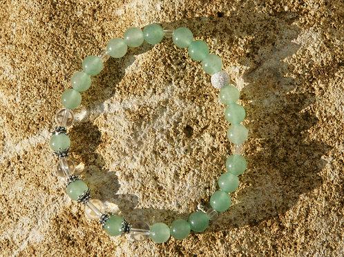 Armband, Bracelet: Bergkristall Aventurin Silber 925