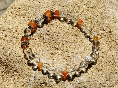 Armband, Bracelet: Bergkristall Karneol Silber 925