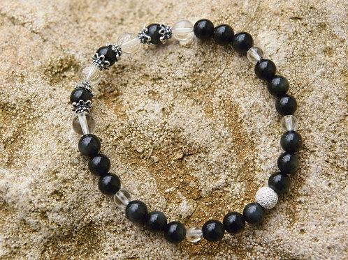 Armband, Bracelet: Regenbogen Obsidian Bergkristall Silber 925