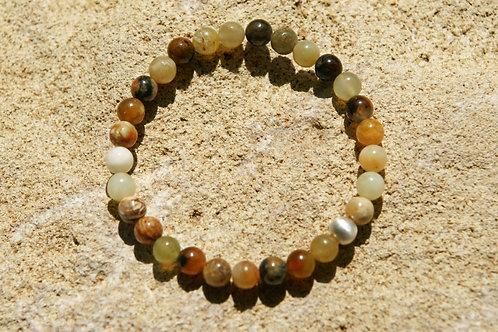 Armband, Bracelet: Serpentin New Jade Silber 925