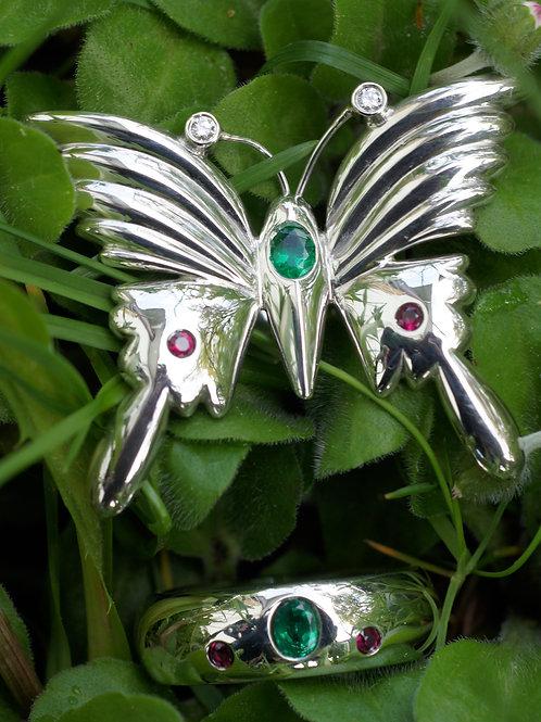 Freundschaftsringe Silber 925 mit Rubin, Smaragd und Brilannten