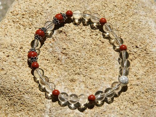 Armband, Bracelet: Bergkristall roter Jaspis Silber 925