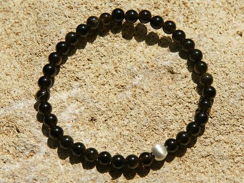 Armband, Bracelet: Goldobsidian Silber 925