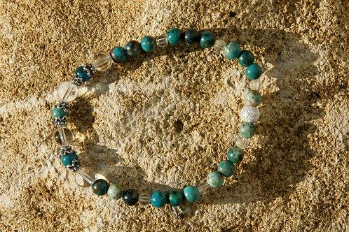 Armband, Bracelet: Bergkristall Chrysokoll Silber 925