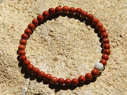 Armband, Bracelet: Roter Jaspis 4 mm Silber 925