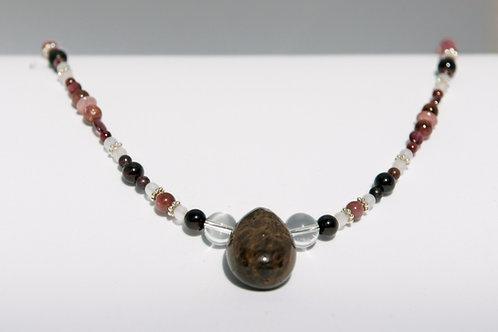 Collier: Zirkon Granat Turmalin Rubin Bergkristall