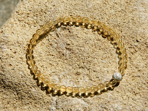 Armband, Bracelet: Citrin 4mm Silber 925