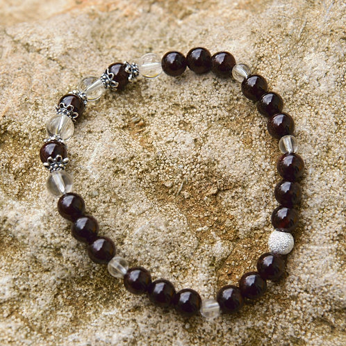 Armband, Bracelet: Bergkristall Granat Pyrop Silber 925