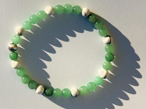 Armband, Bracelet: Aventurin Magnesit Silber 925