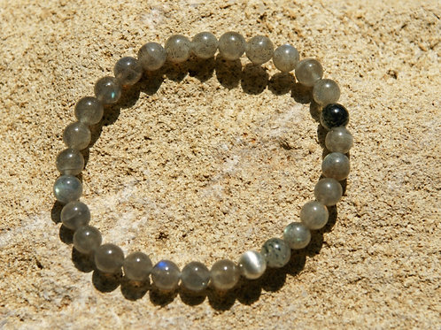 Armband, Bracelet: Bergkristall Labradorit Silber 925